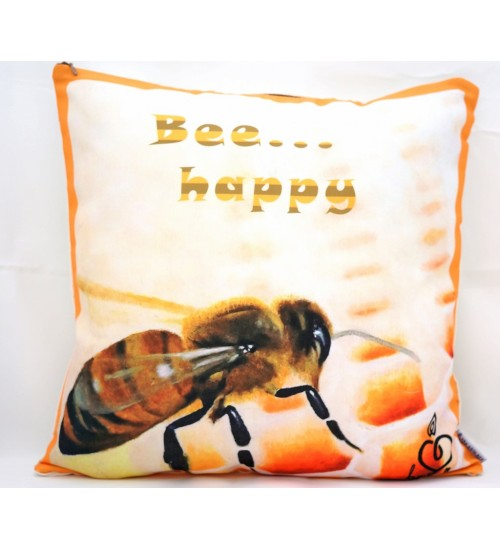 Throw Pillow Cover Bee Happy